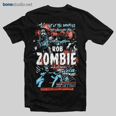 Rob Zombie T Shirt Zombie Calls - Adult Unisex Size - Bonestudio Rob Zombie Shirts, Zombie T Shirt, Band Shirts, T Shirts, Hoodies, Sweatshirts, Adulting, Graphic Tees, Geek Squad