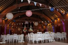 paper lantern and bunting wedding décor thoresby riding hall