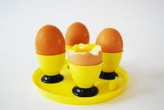 On Sale Retro Egg Cups Yellow and Black with Tray Plastic East German GDR DDR 1970s Vintage housewares Retro Easter on Etsy, $11.65