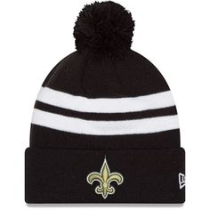 new style e356f 96e71 New Era Men s New Orleans Saints Stripe Cuff Black Pom Knit. NFL Caps And  Hats