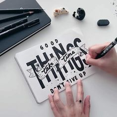e patient. Good things are coming, Just give it time! 👉🏻Swipe for the still. Hand Lettering Quotes, Doodle Lettering, Creative Lettering, Graffiti Lettering, Typography Quotes, Typography Letters, Brush Lettering, Lettering Design, Calligraphy Quotes Doodles
