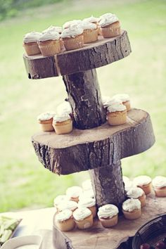 rustic cut log cake stand with cupcakes... love this idea... could look better