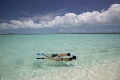 #Snorkel #couple #adventure #Underwater #beach #paradise #clouds #fins #Exuma #SandalsResorts