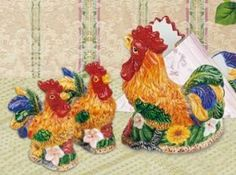 "Rooster 3-D Napkin Holder Salt Pepper Shaker Set . $32.99. Set includes 1 Salt Shaker, 1 Pepper Shaker, and 1 Napkin Holder. This useful ceramic set is sure to add a touch of charm to any table. Salt and Pepper Shakers, each 4.75"" H x 2""W. Napkin holder, 6.5"" H x 5.75"" W. Perfect for setting a sunny breakfast table, or adding a dash of cheery color to your countertops. Cock a doodle do your table up right with this colorful accent set. The French Country look is one of the ..."