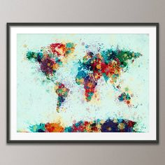 World Map Paint Splashes Blue Art Print