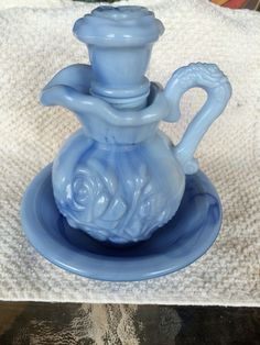 Vintage Avon Victorian light Blue Marble Milk Glass Roses Pitcher, Topper & Bowl Decanter