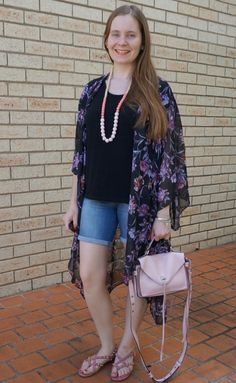 5fab7323f921 Target Karolina summer kimono in purple black floral with black tee bermuda denim  shorts pink accessories