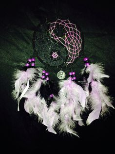 "Black/purple 5"" ring dream catcher"