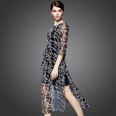 Leopard piece fitted skirt elastic waist long section of high-grade silk dress slit