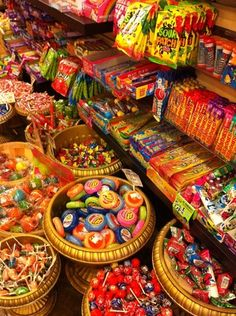 SHOPPING: Big Top Candy Shop: A throwback in time nestled among South Congress boutiques in Austin Sleepover Snacks, Comida Disney, Top Candy, Severus Rogue, Junk Food Snacks, Food Wallpaper, Cute Desserts, Colorful Candy, Food Goals
