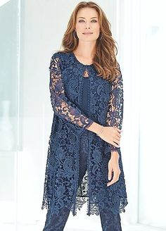 Longline Floral Lace Jacket - Add this chic longline jacket to your wedding dress . Longline Floral Lace Jacket - Add this chic longline jacket to your start-up wardrobe this season. Floral lace gives Outwear a timeless and feminine t. Mother Of The Bride Trouser Suits, Robes D'occasion, Lace Jacket, Pretty Designs, Mothers Dresses, Groom Dress, Occasion Wear, Floral Lace, Blue Lace