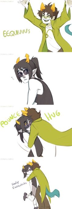 homestuck genderbent nepeta and equius. punce hug! so cute X3 art by ikamaru