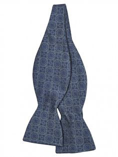 e7eb4ab08207 Blue Medallion Print Silk Bow Tie