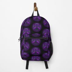 """""""Black and Purple Celtic Cross Pattern"""" Backpack by HavenDesign   Redbubble Cross Patterns, Vera Bradley Backpack, Different Styles, Celtic, Fashion Backpack, Clutches, Shells, Backpacks, Purple"""