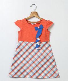 Orange Plaid Bow Cap-Sleeve Dress - Toddler & Girls