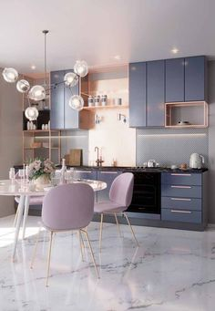 🖤 Pastel kitchen – faded lavender & dusty pink with golden details - Best Home Deco Home Decor Kitchen, Interior Design Kitchen, Modern Interior Design, Decorating Kitchen, Apartment Kitchen, Pastel Kitchen Decor, Apartment Interior, Kitchen Colors, Kitchen Dining