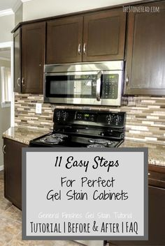 I gel stained my kitchen cabinets AND my bathroom cabinets! Check out the easy to follow tutorial on how to gel stain your own cabinets!