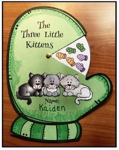 """Animal activities: Nursery rhyme craft for """"The 3 Little Kittens"""". Children color the elements of the rhyme on their wheel trim and then attach to a mitten. Fun way to practice sequencing & retelling a story standards. Nursery Rhyme Crafts, Nursery Rhymes Preschool, Nursery Rhyme Theme, Preschool Crafts, Nursery Ideas, Rhyming Activities, Animal Activities, Activities For Kids, Animal Crafts"""