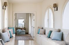 love this hallway with these wonderful seating banks!!!