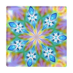 Abstract Blue Spring Flower Mandala Glass Coaster - home gifts ideas decor special unique custom individual customized individualized