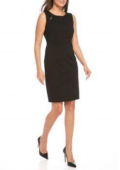 Kasper Black Sleeveless Solid Dress