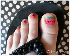 Cute Watermelon Pedicure! Great for Summer & Fun idea for my Tween <3