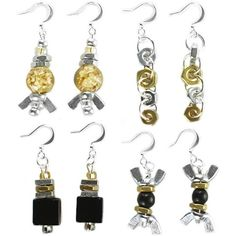 Recycled hardware earrings    Nuts and bolts have many uses, but these fabulous dangle earrings are exceptionally fun and creative.