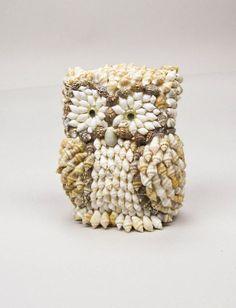 Seashell Owl Figurine Shelf Sitter Paperweight Vintage 80s Coastal Cottage Home Decor