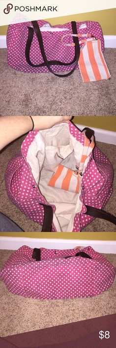 Arizona tote with wristlet Pink with white polka dots tote. Comes with orange striped wristlet. Some dark stains towards bottoms due to usage, but the bag is in great condition! Decent size..would be cute to take to the beach! Arizona Jean Company Bags Totes