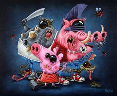 Ratn (Rotten) - 61 x 50 cm - Acrylique sur toile - Gilen - 2017 #gilen #gilenbousquet #painting #lowbrow #popart #popculture #toonart #bebopandrocksteady #bebop&rocksteady #oggy #oggyetlescafards #dirtybastard #peppa #pig # #kaa #popart #toonart #beautifulbizarre #art #contemporaryart #vilains #villain #memepaspeur #rotten