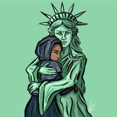 Estados Unidos protesta por la prohibición musulmana luego de que Trump prohibe la entrada de siete países mayormente de religión Islámica. Claro en ninguno de estos el presidente de EEUU tiene negocios. | : @quiversarrow