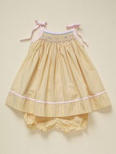 Girls Yellow Stripe Sundress by BeBe Mignon..@Kelsey Allen you had one just like this but in pink