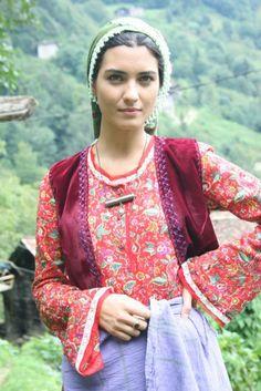Tuba Buyukustun Turkish-Actress. Traditional Black Sea clothes