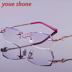 eef125f2e6 Youe shone Luxury Colored Lenses Diamond Trimmed Eyeglasses Women Quality  Titanium Glasses Frame with Tint Lenses