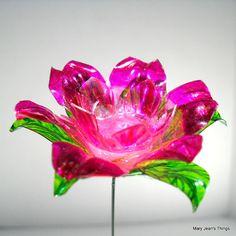Upcycled Pink Fantasy Flower Made Of Plastic Water Bottles OOAK Bottle FlowersPlastic