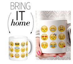 """""""Bring It Home: Emoji Faces Mug"""" by polyvore-editorial ❤ liked on Polyvore featuring interior, interiors, interior design, home, home decor, interior decorating and bringithome"""