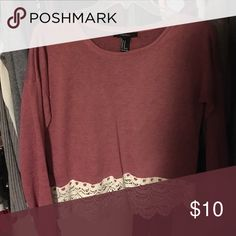 Lace trimmed top Slightly cropped Forever 21 Tops Blouses