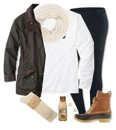 """""""rainy days & starbucks"""" by marycoulbourn ❤ liked on Polyvore featuring NIKE, Southern Proper, Accessorize, Barbour and L.L.Bean"""