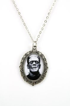 Frankenstein Cameo Necklace with 18 Chain by ProjectPinup on Etsy, $15.00