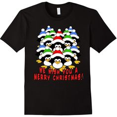 Penguin Choir Christmas Tee by Scarebaby ($20) ❤ liked on Polyvore featuring tops, t-shirts, penguin, christmas t shirts, christmas tops and christmas tee