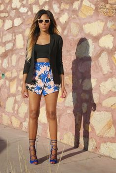 ALLTHINGSSLIM Asos Linen Blazer | Nasty Gal Bustier (similar here) | Paulla Palm Print Skort | Ami Club Wear Heels | Forever21 Sunglasses