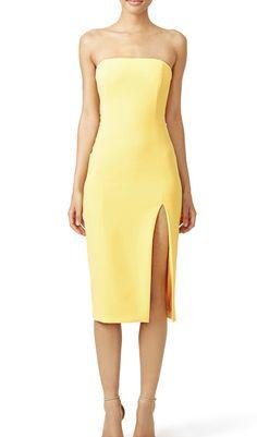 94cb2467ed0e6 Inspiration: Yellow Brick Road Midi Dress With Slit, Yellow Midi Dress, Jay  Godfrey