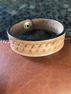 Hand Crafted Leather Bracelet, Size Large (L-S Custom Leatherwork)