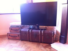 My Vintage Trunk TV Stand. £25 at a car boot sale! Bargain! My mum got it me! Love it!