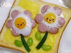 Flower Toast :) ウインナーエッグ フラワーのチーズトースト*