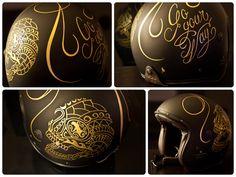 Pinstriping on helmet, by Seb Gaidin