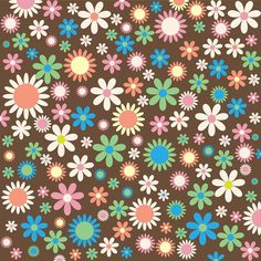 Floral, Flowers, Flowery, Retro, Funky, Wallpaper