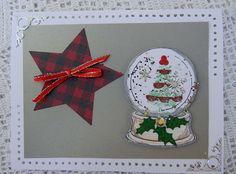 Christmas Card with Star and Snow Globe Christmas Tree and