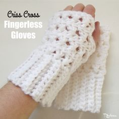 Criss-Cross Fingerless Gloves ~ FREE Crochet Pattern