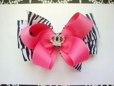 Girls hairbow, hot pink and zebra princess hairbow. $6.00, via Etsy.